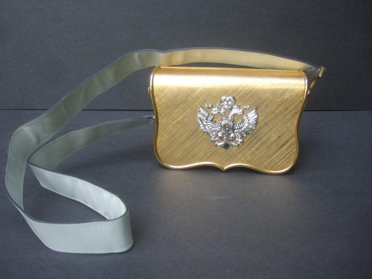 Saks Fifth Avenue Italian Gilt Metal Eagle Emblem Leather Shoulder Bag c 1970s For Sale 4