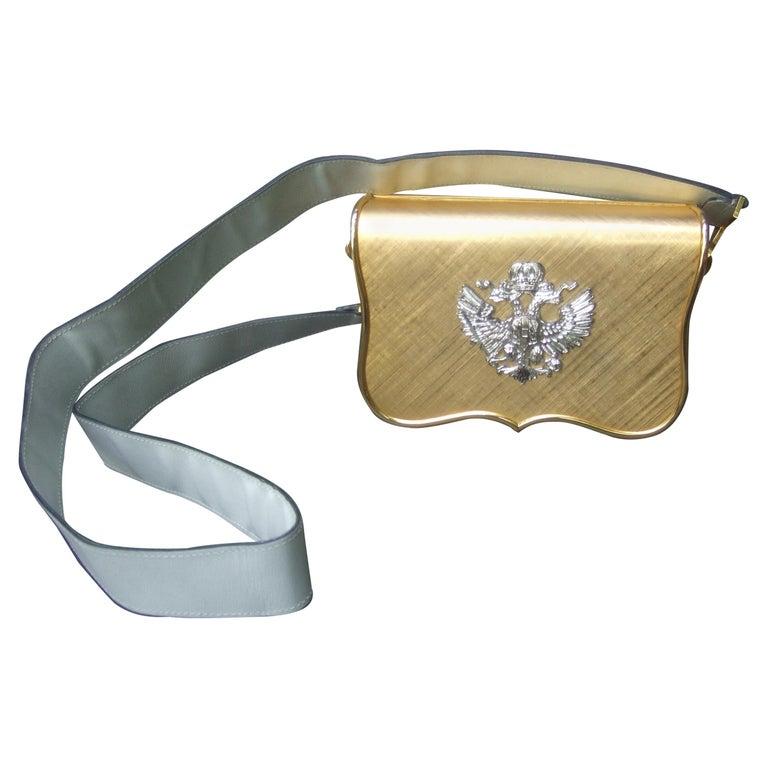 Saks Fifth Avenue Italian Gilt Metal Eagle Emblem Leather Shoulder Bag c 1970s For Sale