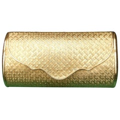 Saks Fifth Avenue Italian Gilt Metal Minaudière Evening Bag c. 1970s