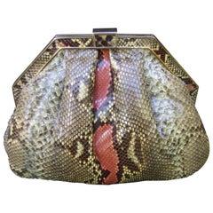 Saks Fifth Avenue Italian Python Handbag Circa 1980