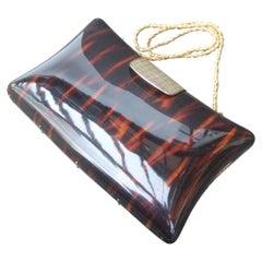 Saks Fifth Avenue Italian Tortoise Shell Lucite Handbag c 1970s