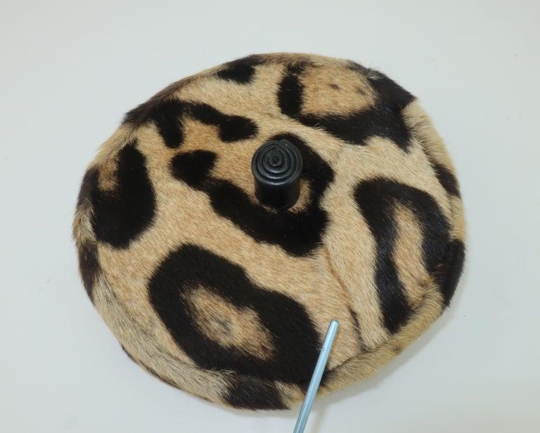 Saks Fifth Avenue Leopard Print Fur Pillbox Hat, 1950's For Sale 5