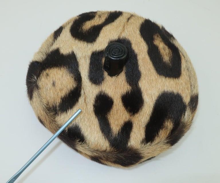 Saks Fifth Avenue Leopard Print Fur Pillbox Hat, 1950's For Sale 6
