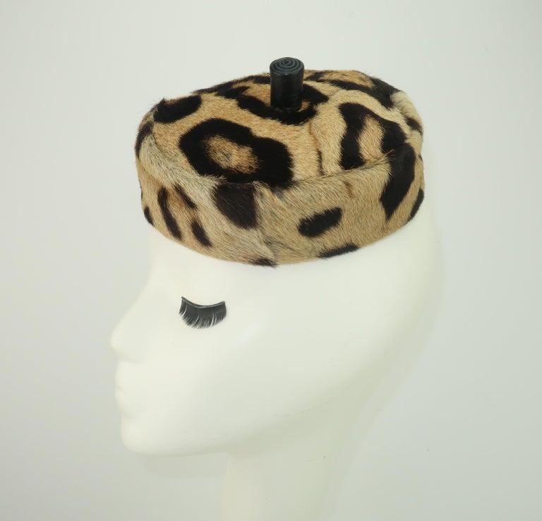 Saks Fifth Avenue Leopard Print Fur Pillbox Hat, 1950's In Good Condition For Sale In Atlanta, GA