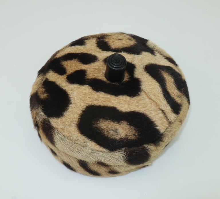 Saks Fifth Avenue Leopard Print Fur Pillbox Hat, 1950's For Sale 1