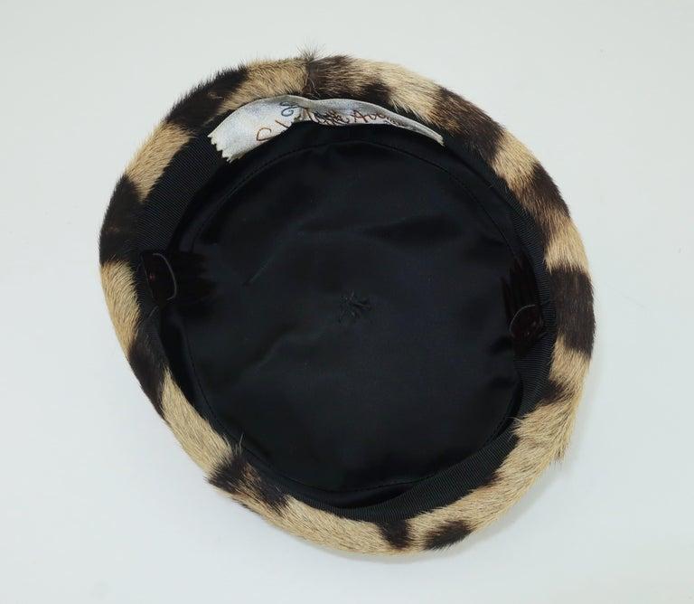 Saks Fifth Avenue Leopard Print Fur Pillbox Hat, 1950's For Sale 3