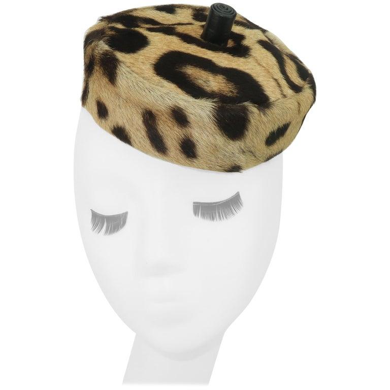 Saks Fifth Avenue Leopard Print Fur Pillbox Hat, 1950's For Sale