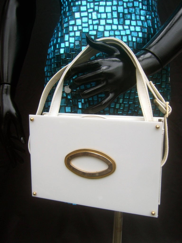 Saks Fifth Avenue Mod White Lucite Tile Handbag c 1970s In Good Condition For Sale In Santa Barbara, CA