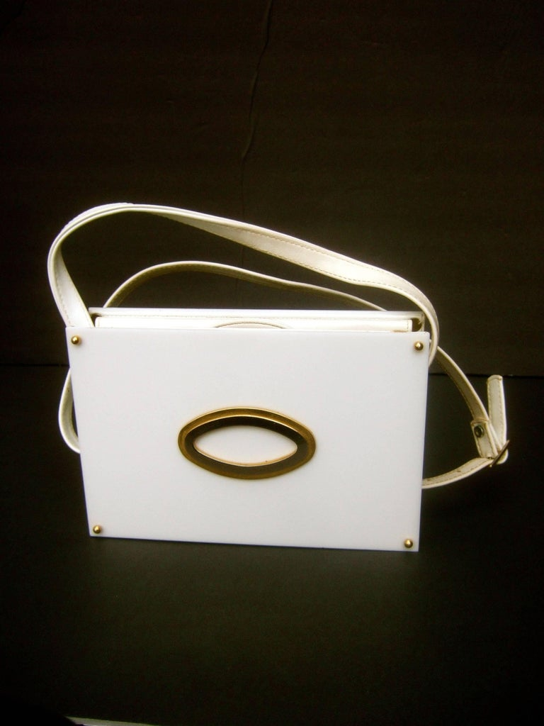 Saks Fifth Avenue Mod White Lucite Tile Handbag c 1970s For Sale 1