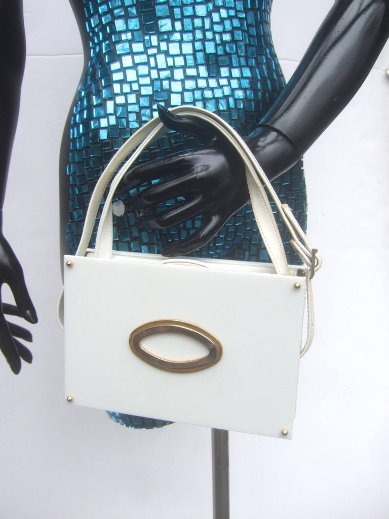 Saks Fifth Avenue Mod White Lucite Tile Handbag c 1970s For Sale 2