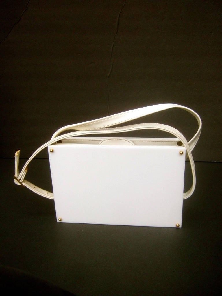 Saks Fifth Avenue Mod White Lucite Tile Handbag c 1970s For Sale 3