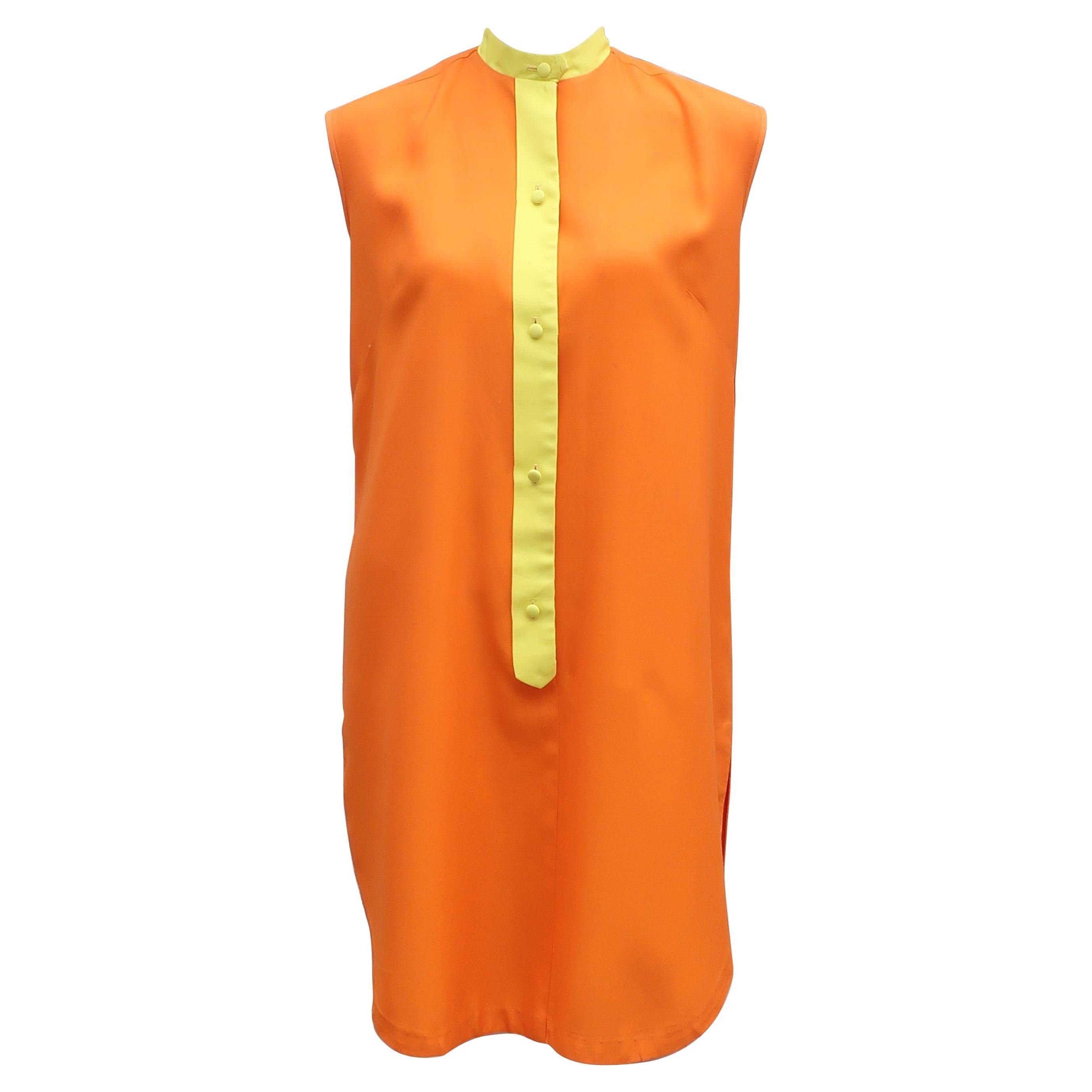 Saks Fifth Avenue Orange & Yellow Cotton Blend Shift Dress, 1960's