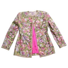 Saks Fifth Avenue Pastel Floral Embroidered Jacket by Victor Costa c 1980s
