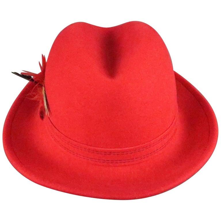 SAKS FIFTH AVENUE Red Felt Contrast Stitch Fedora For Sale