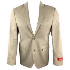 SAKS FIFTH AVENUE Size 36 Khaki Cotton Notch Lapel Sport Coat Jacket