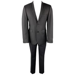 SAKS FIFTH AVENUE Size 38 Black Textured Wool Notch Lapel Suit