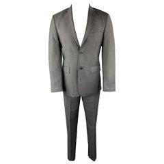 SAKS FIFTH AVENUE Size 38 Dark Gray Plaid Zegna Wool Notch Lapel Suit