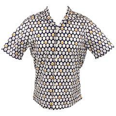 SAKS FIFTH AVENUE Size S Navy & White Seersucker Cotton Short Sleeve Shirt