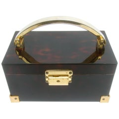Saks Fifth Avenue Sleek Tortoise Shell Lucite Box Purse c 1970s
