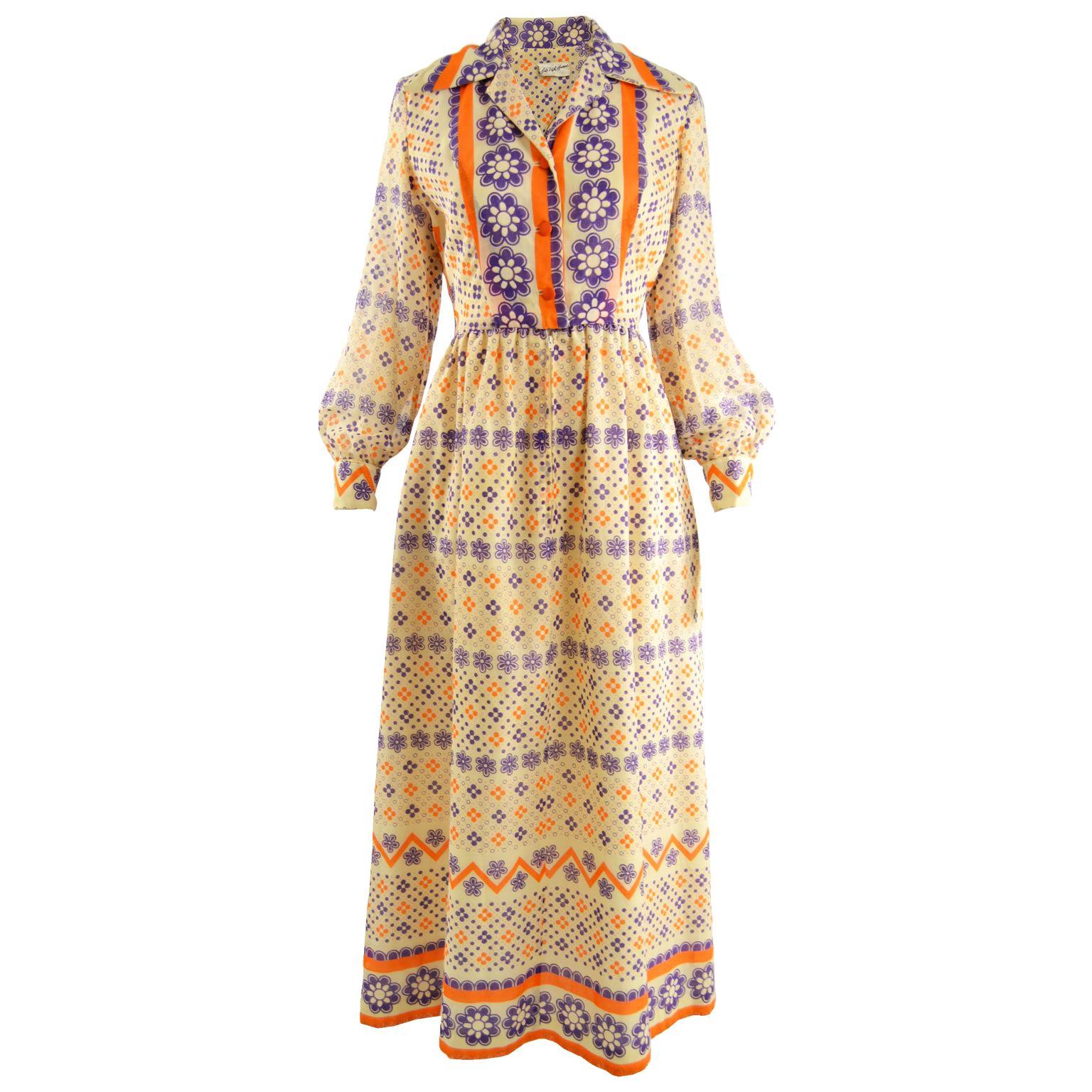 Saks Fifth Avenue Vintage Bold Floral Print Cotton Voile Maxi Dress, 1970s