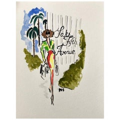 Saks Fifth Avenue, Watercolor on Archival Paper