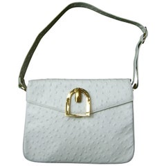Saks Fifth Avenue White Ostrich Leather Shoulder Bag c 1970