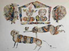 Contemporary Indian Art Master Lithograph in Color Abstract Figures with Cat