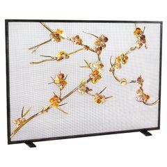 Sakura Brass Fireplace Screen with Warm Black Frame Finish