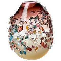 Sakura TRP20003, a Glass Vase in Dark Pink with Mixed Colors by Maarten Vrolijk