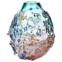 Sakura TRP20009, a Glass Vase in Turquoise with Mixed Colors by Maarten Vrolijk
