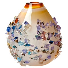 Sakura TRP20010, a Glass Vase in Warm White with Mixed Colors by Maarten Vrolijk