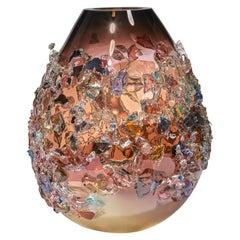 Sakura TRP20017, a Glass Vase in Dark Pink with Mixed Colors by Maarten Vrolijk