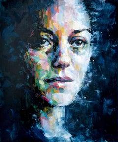 Keeping A Distance - original portrait painting Contemporary 21st Century beauty