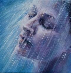 Let It Pour - original figure portrait painting Contemporary Art female water