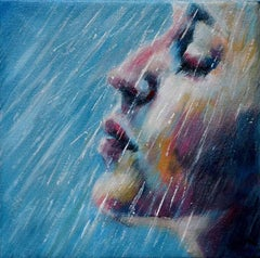 Let It Pour Some More - original figurative female painting contemporary Art