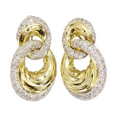 Sal Praschnik 18 Karat Gold and Diamond Open Circle Drop Earrings