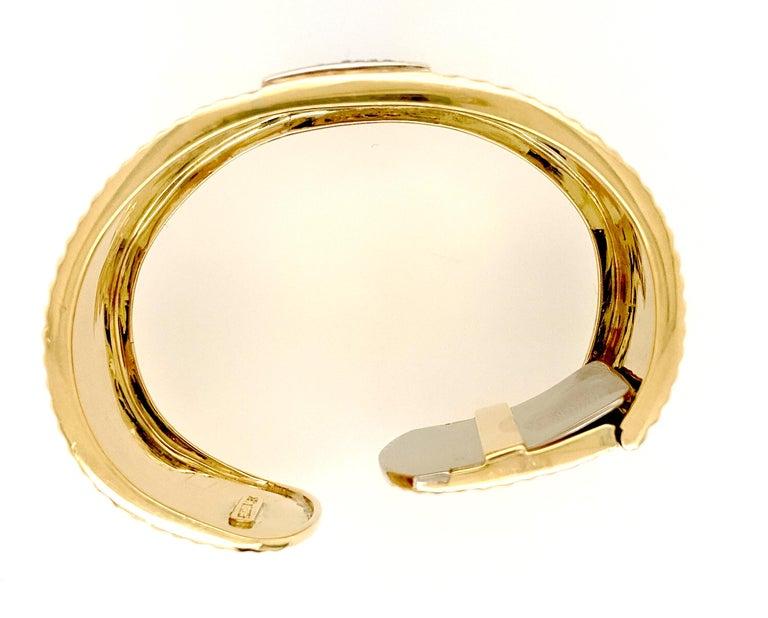 Women's Sal Praschnik 18 Karat Yellow Gold Diamond Cuff Bracelet For Sale