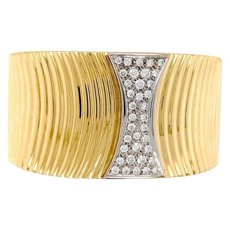 Sal Praschnik 18 Karat Yellow Gold Diamond Cuff Bracelet For Sale