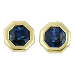 S.A.L. Swarovski America Ltd Gold Plated Octagonal Blue Crystal Clip On Earrings
