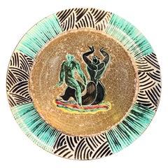 """Salacia Riding Neptune,"" Fabulous Art Deco Plate with Aquatic Motif by Mayodon"