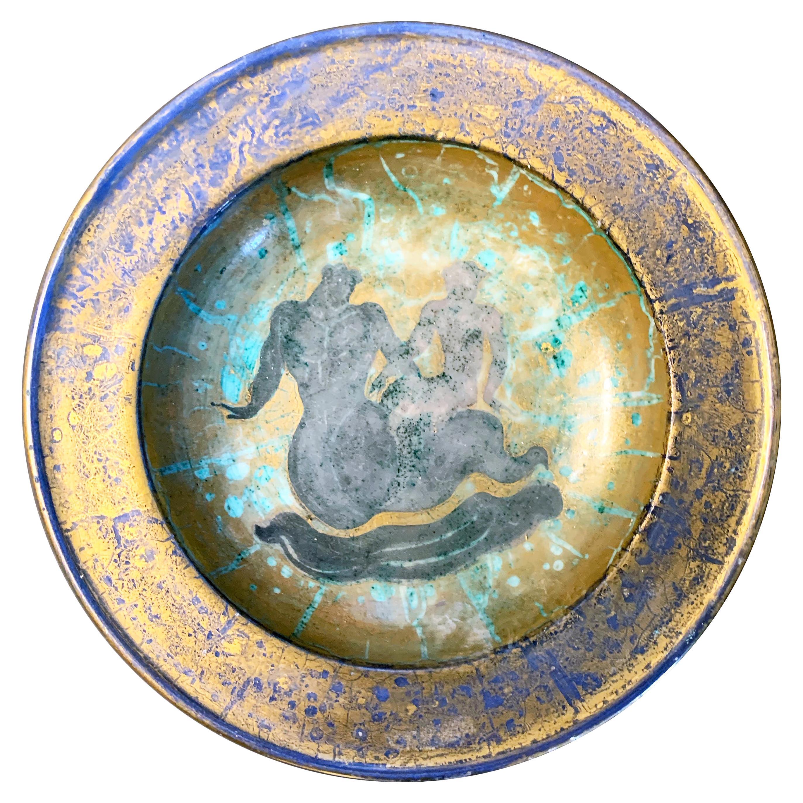 """Salacia Riding Neptune,"" Richly-Glazed Bowl by Mayodon, Art Deco Master"