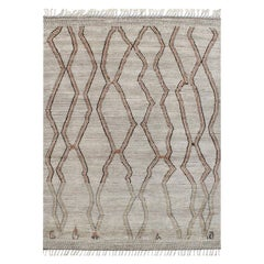 Salado Tan and Brown Abstract Geometric Hand-Knotted Wool Rug
