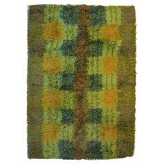 Salanders, Sweden, Rya Rug in Pure Wool, Geometric Fields, 1960s-1970s