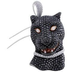 Salavetti 18 Karat White Gold Black Diamond Panthere Pendant