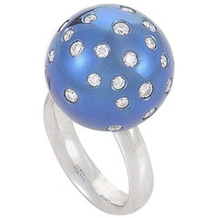 Salavetti 18 Karat White Gold Blue Sphere Diamond Ring