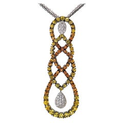 Salavetti 18 Karat White Gold Multi Sapphire and Diamond Necklace SALAG01-080612
