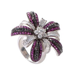 Salavetti 18 Karat White Gold Pink Sapphire Multi-Diamond Ring