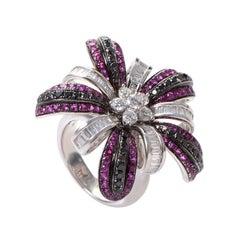 Salavetti 18 Karat White Gold Pink Sapphire Multi-Diamond Ring