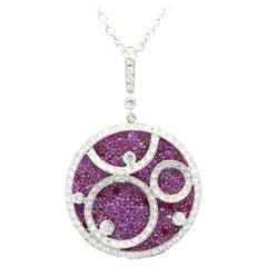 Salavetti 18 Karat White Gold Ruby and Diamond Circle Swirl Necklace