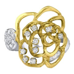 Salavetti 18 Karat Yellow and White Gold Diamond Rose Ring